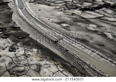 Mud volcanoes also known as mud domes in summer season