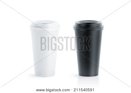 Blank black and white disposable paper cup with plastic lid mock up isolated 20 oz 3d rendering. Empty polystyrene coffee drinking mug mockup front view. Clear plain tea take away package