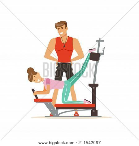 Professional fitness coach and woman exercising on trainer gym machine, people exercising under control of personal trainer vector Illustration on a white background