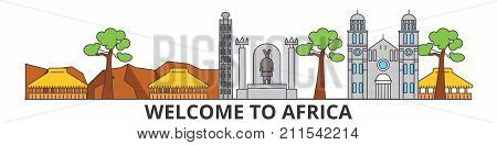 Africa outline skyline, african flat thin line icons, landmarks, illustrations. Africa cityscape, african vector travel city banner. Urban silhouette