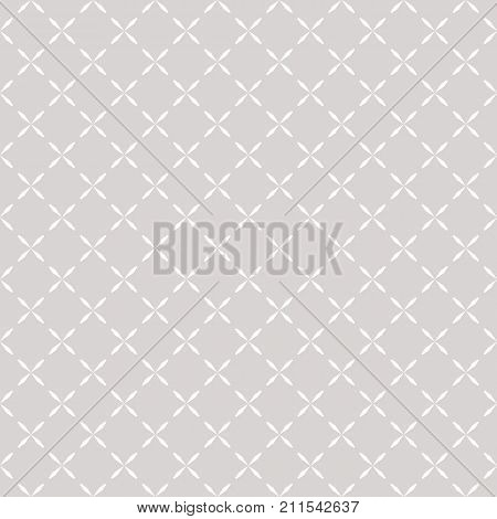 Minimalist seamless pattern with small crosses simple floral shapes. Abstract geometric texture in soft pastel colors, white and light gray. Subtle repeat background. Elegant design for decor, prints. Grid pattern. Mesh pattern. Diagonal pattern.