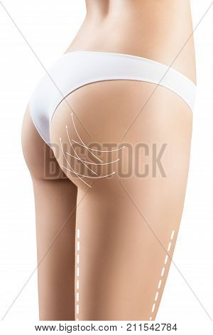 Beautiful female back with lifting arrows on buttocks, isolated on white background.