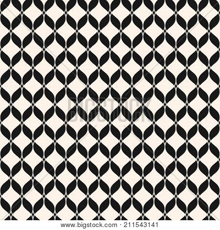 Ornamental mesh seamless pattern. Abstract graphic monochrome background with wavy lines, delicate lattice, curved shapes, weave. Black and white repeat geometric texture. Luxury design. Stock vector