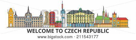 Czech republic outline skyline, Czech flat thin line icons, landmarks, illustrations. Czech republic cityscape, Czech vector travel city banner. Urban silhouette