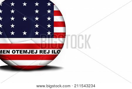 The flag of Bikini Atoll was represented on the ball, the ball is isolated on a white background with space for your text.