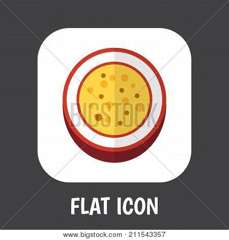 Vector Illustration Of Fruits Symbol On Passionfruit Flat Icon
