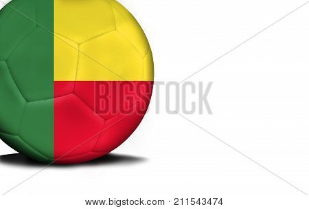 The flag of Benin was represented on the ball, the ball is isolated on a white background with space for your text.