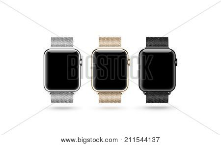 Smart watch blank screen mock up isolated silver gold and black 3d rendering. Steel hand clock mockup metal band. Smartwatch design presentation empty display template. Sport wrist device bracelet.
