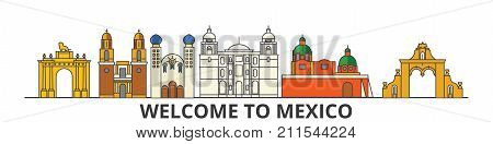 Mexico outline skyline, mexican flat thin line icons, landmarks, illustrations. Mexico cityscape, mexican vector travel city banner. Urban silhouette