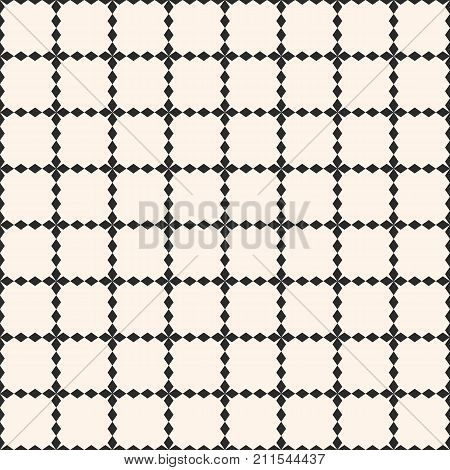 Vector grid seamless pattern. Abstract geometric texture with square lattice, rhombus shapes, jagged lines. Simple monochrome background, repeat tiles. Design element for decor, prints, furniture, web. Cvers pattern. Grid pattern. Lattice pattern.
