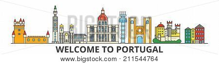 Portugal outline skyline, Portuguese flat thin line icons, landmarks, illustrations. Portugal cityscape, Portuguese vector travel city banner. Urban silhouette