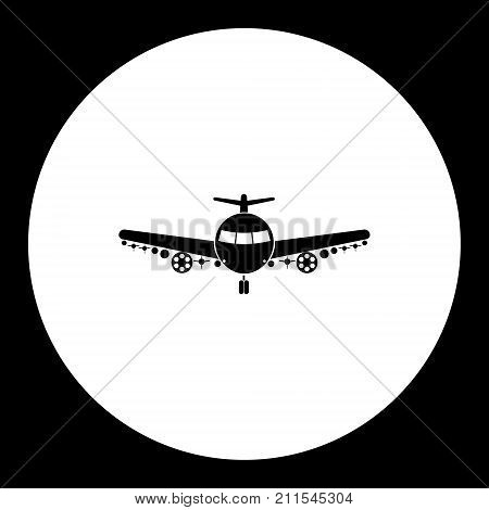 One Military Bomber Airplane Simple Black Icon Eps10