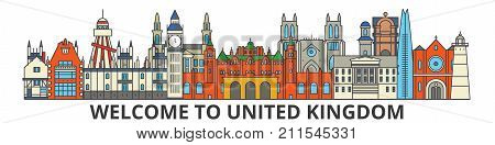 United Kingdom outline skyline, british flat thin line icons, landmarks, illustrations. United Kingdom cityscape, british vector travel city banner. Urban silhouette