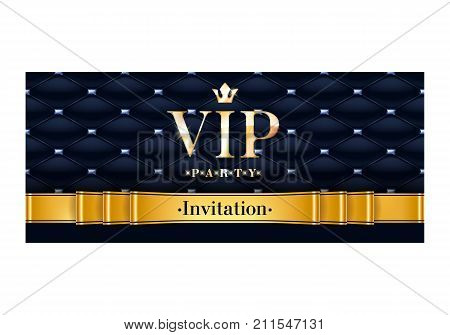 VIP party premium invitation card poster flyer. Black and golden design template. Quilted pattern decorative background with black and golden ribbon.