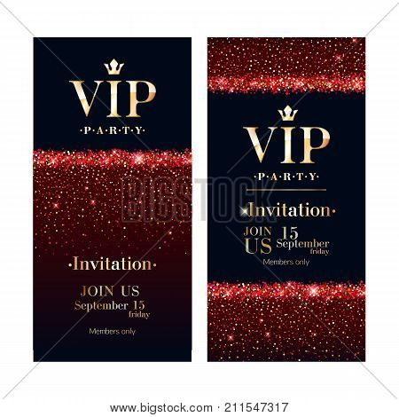VIP club party premium invitation card poster flyer design template. Red and golden confetti background.