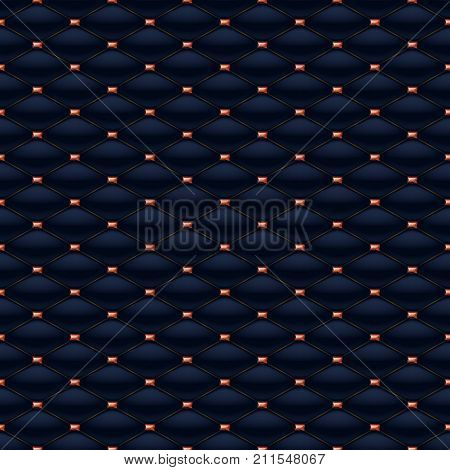 Quilted seamless pattern. Pins with rubies stitching rivets on textile.