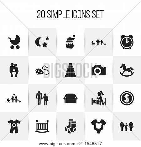 Set Of 20 Editable Relatives Icons. Includes Symbols Such As Family Dynasty, Kin, Sleeping Daughter And More
