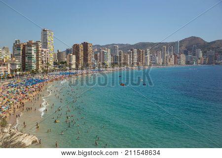 Coastline of a Benidorm. Aerial view of Benidorm, with beach and skyscrapers. Spain. Costa Blanca, Alicante