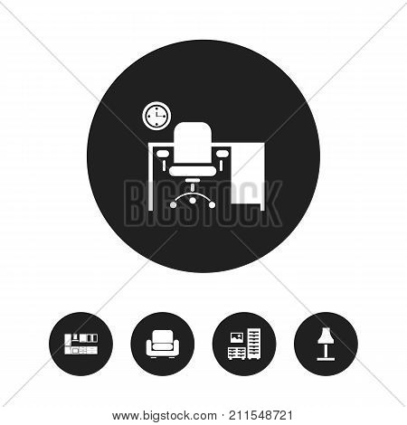 Set Of 5 Editable Interior Icons. Includes Symbols Such As Glim, Office, Cooking Furnishings And More
