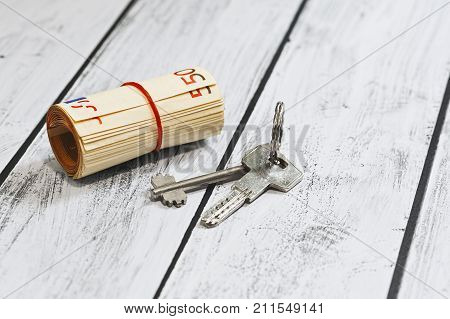Euro Currency Money And A Door Key