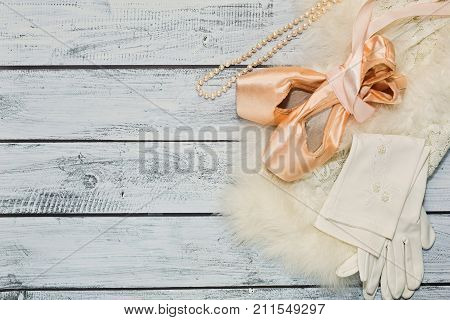 Ballet Props On Wooden Background, Top View