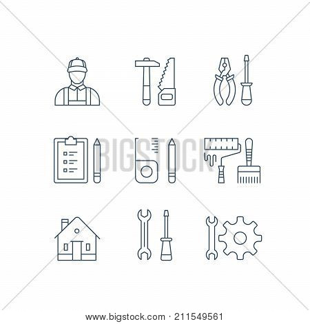 Home improvement repairman, manual work service, house repair tool, renovation design, hammer saw symbol, pliers and screwdriver, roller paint and brush, construction equipment vector line icon