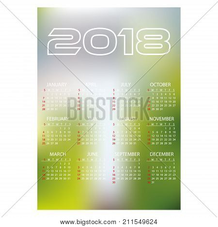 2018 Simple Business Wall Calendar Abstract Blur Color Background Eps10