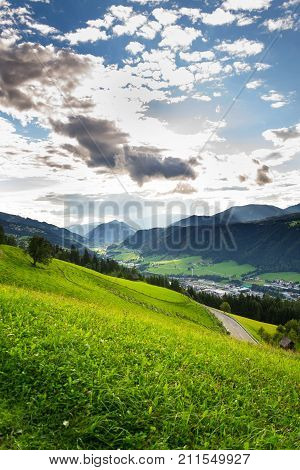 Beautiful Valley With Former Mining Town Schladming In Styria, Austria