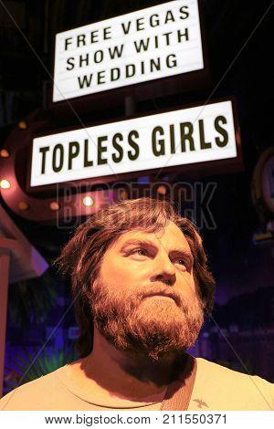 LAS VEGAS NV - Oct 09 2017: Zach Galifianakis wax figure with movie set from HANGOVER movie at Madame Tussauds museum in Las Vegas.