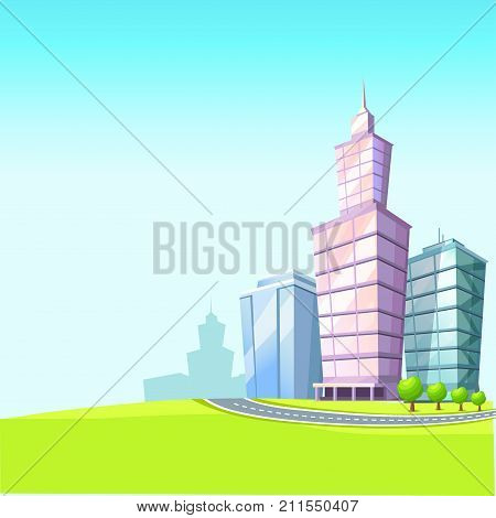 Cartoon urban landscape vector illustration. High skyscrapers, small trees, empty road and green meadow on blue sky. Architectural and natural composition. From wild countryside into busy cityscape.