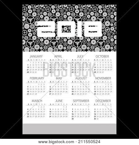 2018 Simple Business Wall Calendar With Clock Theme Pattern Eps10