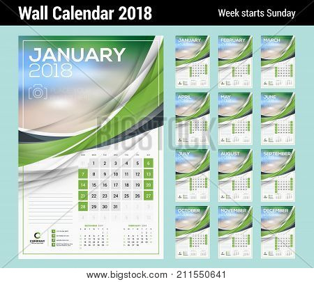 Vector Calendar Template 2018 Year Vector Photo Bigstock