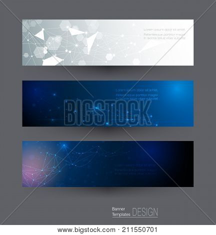 Vector illustration Abstract banners set of molecule structure. Hi-tech digital technology and digital telecom, technology concept. Vector abstract futuristic on dark blue color background