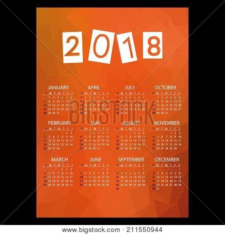 2018 Simple Business Wall Calendar With Low Polygon Red Theme Pattern Eps10