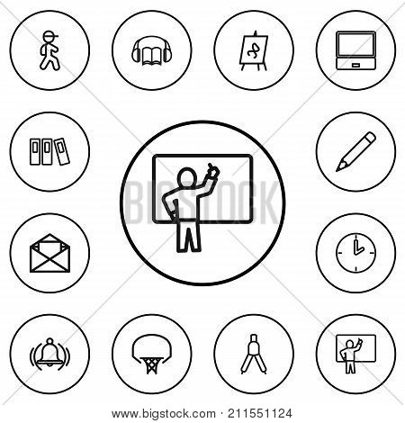 Set Of 12 Editable Teach Outline Icons. Includes Symbols Such As Audiobook, Watch, Basketball And More