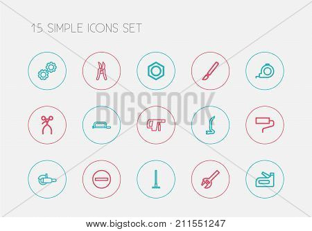 Set Of 15 Editable Tools Outline Icons. Includes Symbols Such As Minus, Harrow, Retractor And More