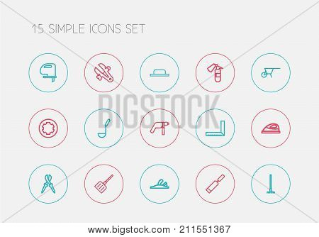 Set Of 15 Editable Tools Outline Icons. Includes Symbols Such As Handcart, Harrow, Fire Safety