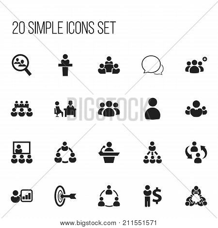 Set Of 20 Editable Community Icons. Includes Symbols Such As Goal, Human Resouces, Teamwork And More