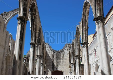 The roofless Cathedral of Carmo Convent. Lisbon, Portugal.
