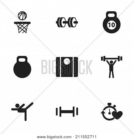 Set Of 9 Editable Healthy Icons. Includes Symbols Such As Weightiness, Acrobatics, Bodybuilding And More