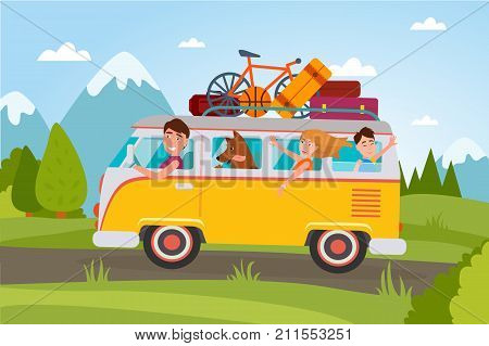 Family that goes on vacation at countryside in van full of baggage and with small basketball, compact bicycle and dog vector illustration.