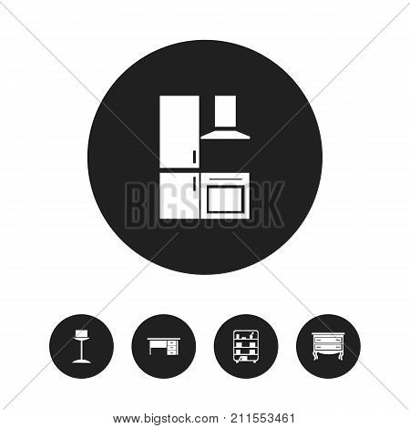 Set Of 5 Editable Interior Icons. Includes Symbols Such As Enlightenment, Commode, Cuisine And More