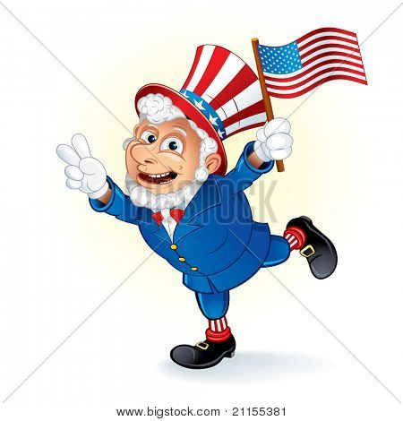 Smiling Cartoon Uncle Sam