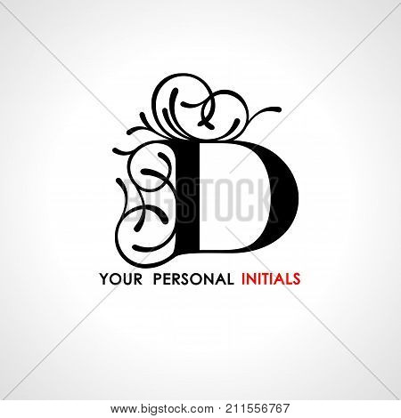 Capital letter D . Decorated with vegetable ornament. Template for your logo, emblems, monograms, initials