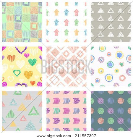 Set Of Seamless Vector Hand Drawn Childish Patterns With Fruits. Cute Childlike Strawberry, Orange W