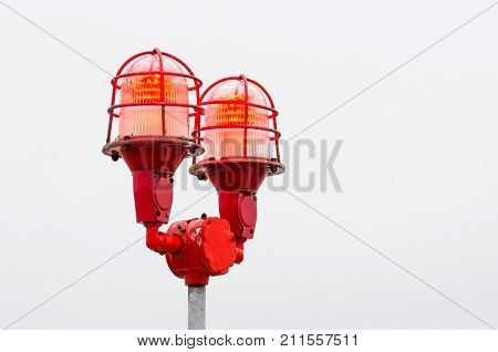 Red Warning Lights Of The Lamp, Warning At The Edges Of High Objects.