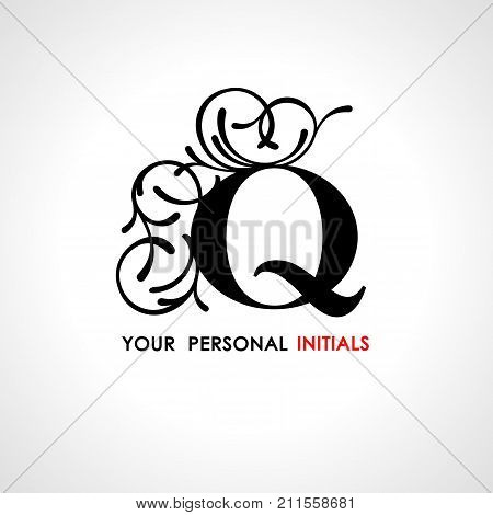 Capital letter Q . Decorated with vegetable ornament. Template for your logo, emblems, monograms, initials