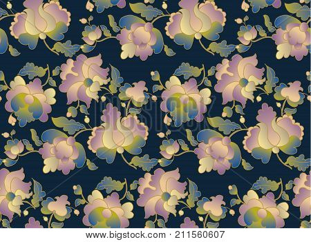 ethnic folk floral element for surface design on black color. peasant style flower vector seamless pattern.