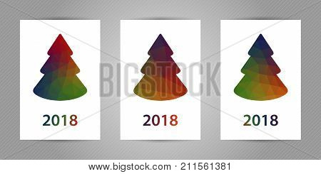 Minimalistic polygonal New Year tree on white background. Christmas greeting card with colorful geometric triangles texture and 2018 numbers.