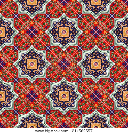 Gorgeous seamless pattern white colorful Moroccan, Portuguese tiles, Azulejo, ornaments. Can be used for wallpaper, pattern fills, web page background, surface textures
